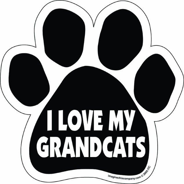 I Love My Grandcats Paw Magnet