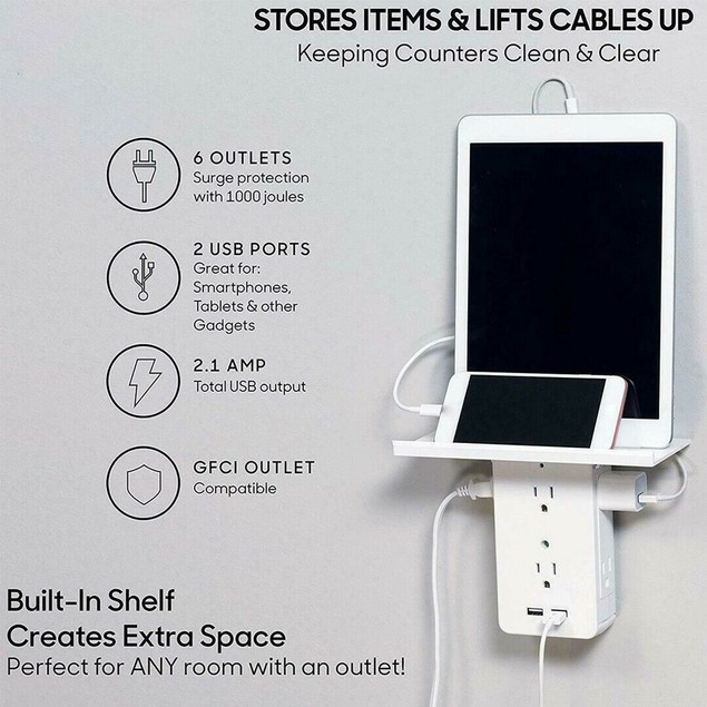 8-Port Multi Charge Wall Outlet with Shelf