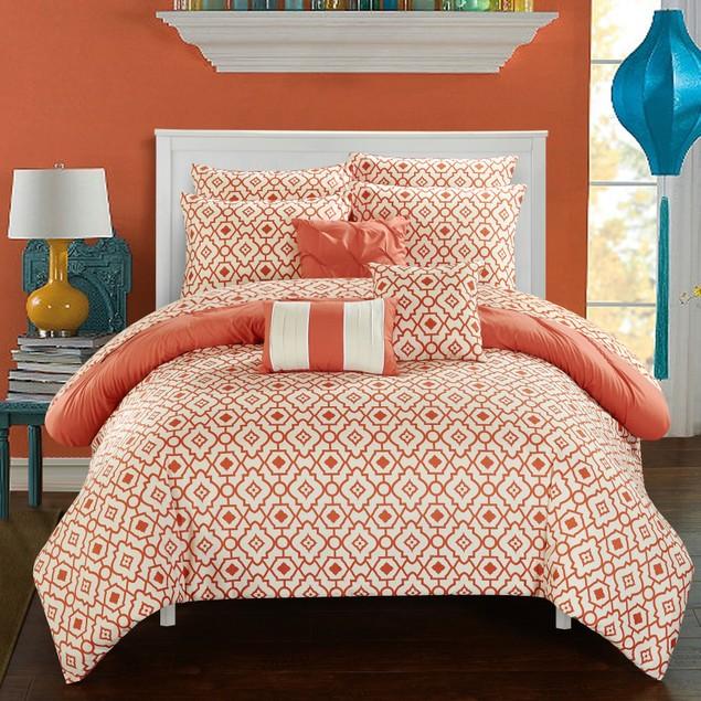 Chic Home 10 Piece April Pinch Pleat Design Reversible Comforter Set