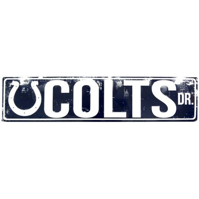 "Indianapolis Colts NFL Colts Drive ""Distressed"" Metal Street Sign"