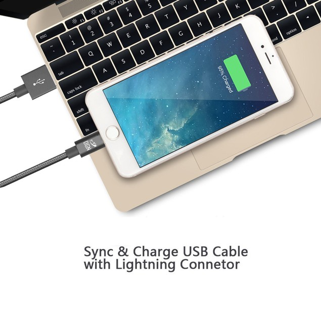 3-PACK Braided Lightning Charging Cables for iPhone & iPad (6 or 10 Feet)