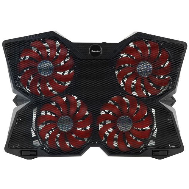 4 Speed Control Fan Laptop Cooling Pad w/ Red LED Light & 2 USB Ports
