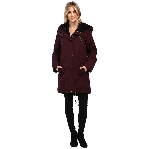 Vince Camuto Women's Faux Fur Trim Parka L1051 Wine Small