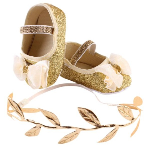 Flower Shoes Sneaker Anti-slip Hand  Soft Toddler Shoes+1pc Hairband