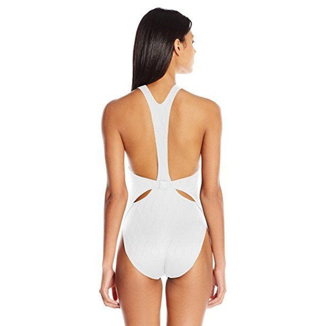 Vince Camuto Women's Tahiti Texture Cut Out High Neck One Piece SIZE 1