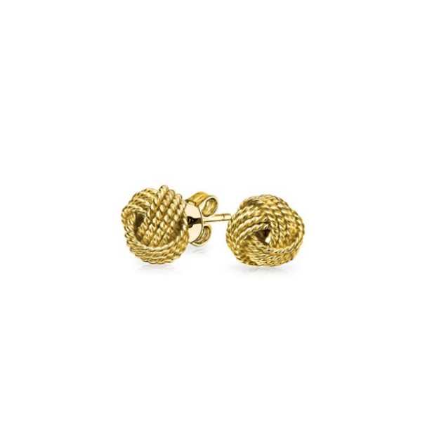 Set Of 2 Sterling Silver Love Knot Studs