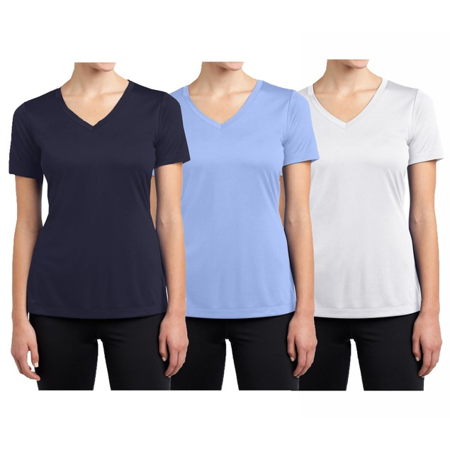 Women's Short Sleeve Cotton Stretch Tees- Multiple Pack Sizes