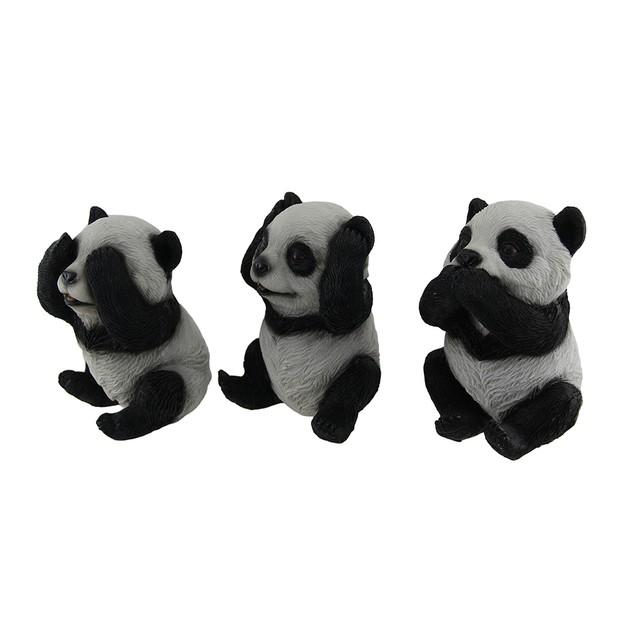 3 Piece See Hear Speak No Evil Sitting Baby Panda Statues