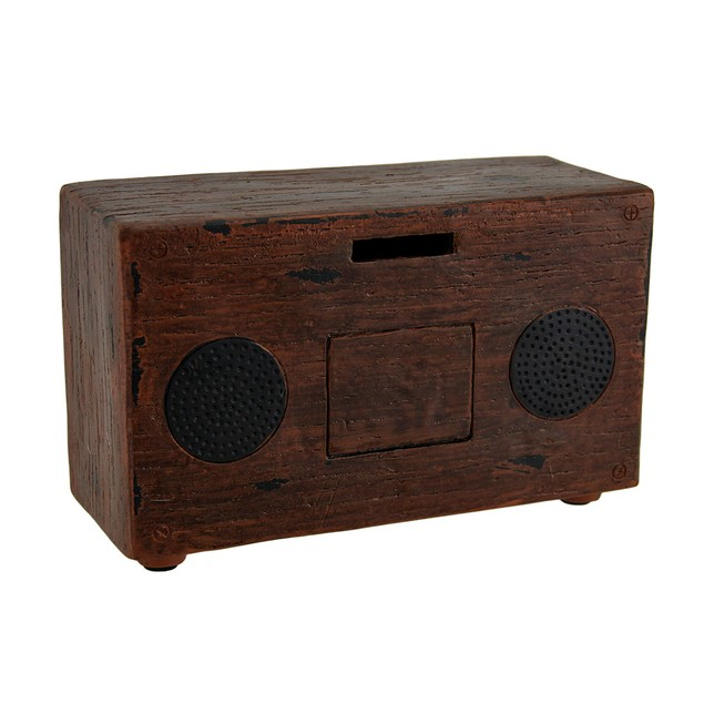 Brown Vintage Finish Retro Console Radio Coin Bank Toy Banks