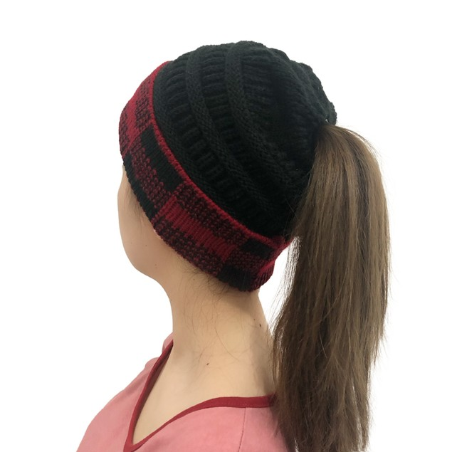Women's Large Plaid Curled Knitted Ponytail Hat