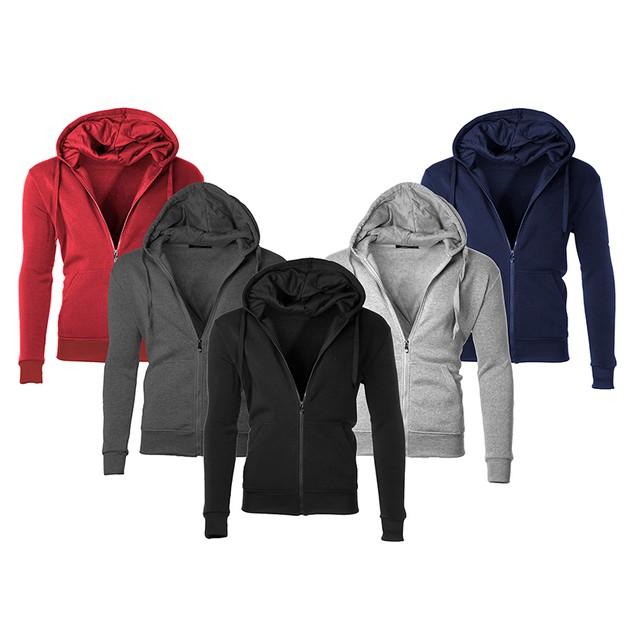 Men's Moisture Wicking Fleece-Lined Full-Zip Up Hoodie