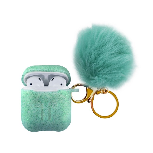 Glitter AirPod Case With PomPom Keychain - 4 Colors