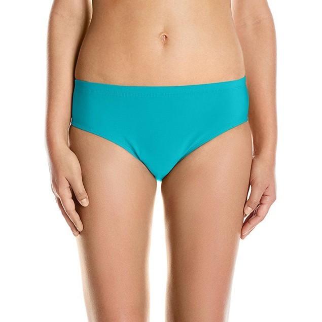 ATHENA Women's Cabana Solids Landa Mid Waist Bikini Bottom, Lagoon,SZ: