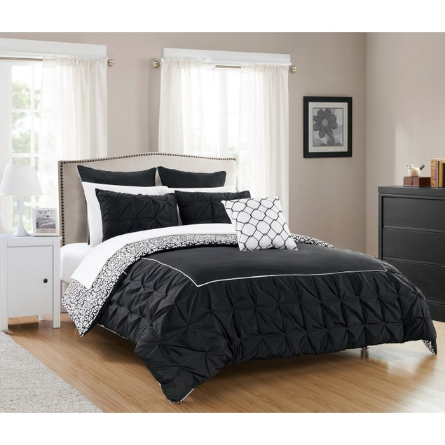 Chic Home 7/10 Piece Lizbeth Ruffled REVERSIBLE Bed In a Bag Comforter Set