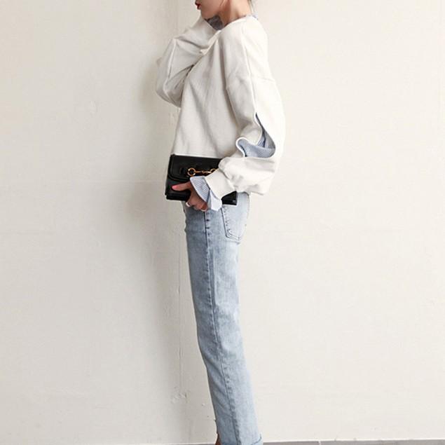 Womens Loose Long Sleeve Sweater Pullover O-Neck Stripe Sweatshirt Tops