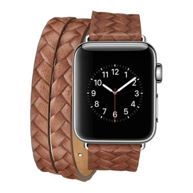 iPM Luxury Leather Braided Double Wrap Watch Band for Apple Watch