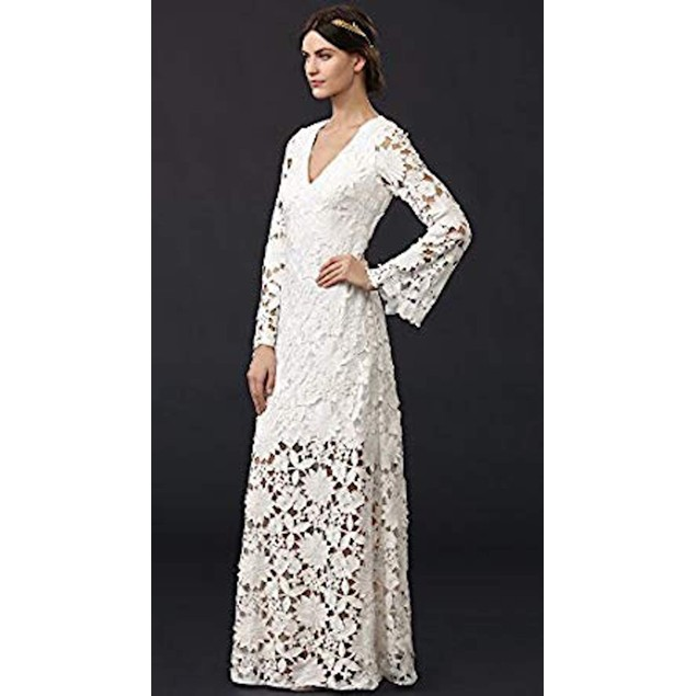 Badgley Mischka Collection Women's Long Sleeve Lace Waist Gown, White,