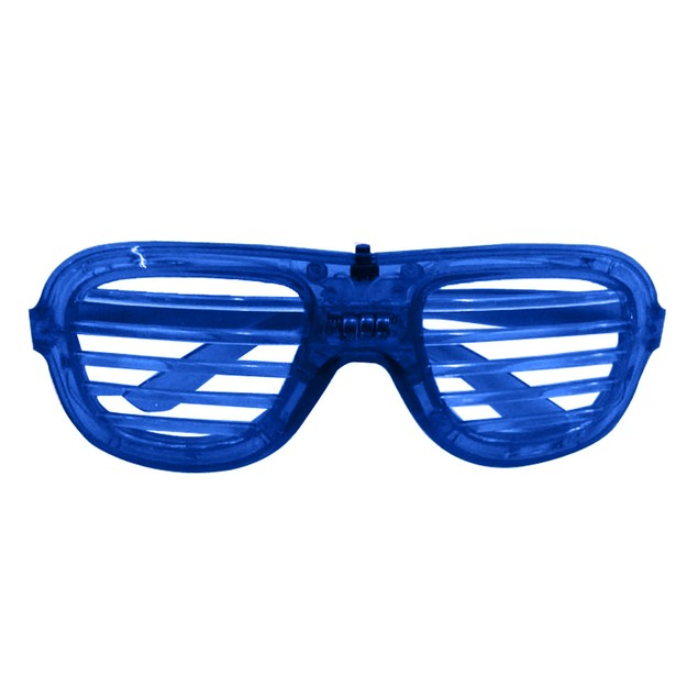 Flashing LED Color 'Slotted Shutter' Light Up Show Party Favor Toy Glasses