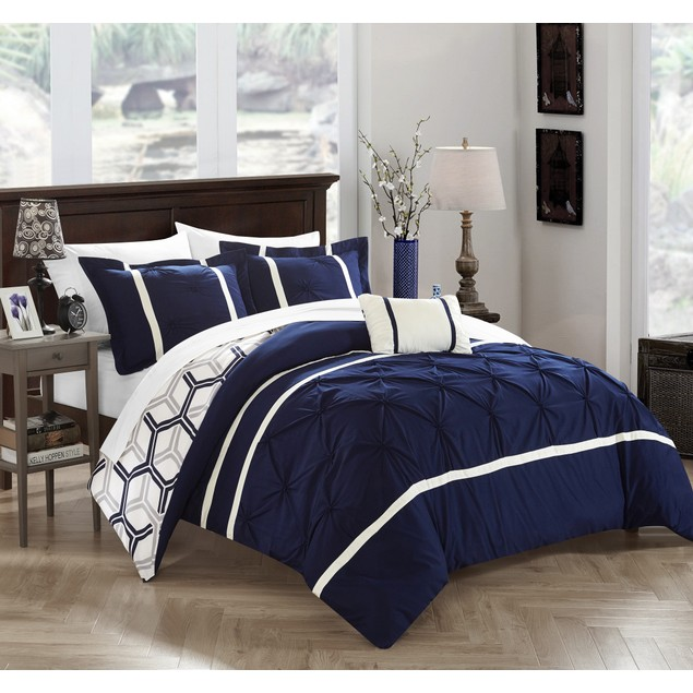 Chic Home 3/4 Pc. Briella Pinch Pleated Ruffled & Reversible Comforter Set