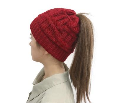 Women's Warm Ponytail Woolen Hat Was: $21.99 Now: $9.99.