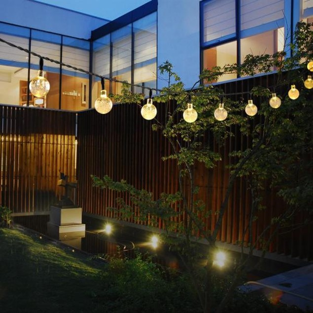 Outdoor Solar String Light with 20ft 30 LED White Crystal Balls