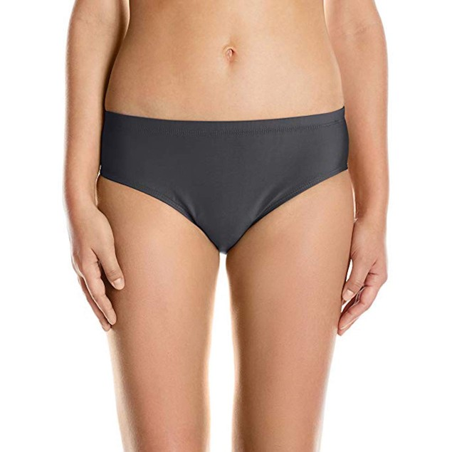 ATHENA Women's Cabana Solids Landa Mid Waist Bikini Bottom, Black, XS