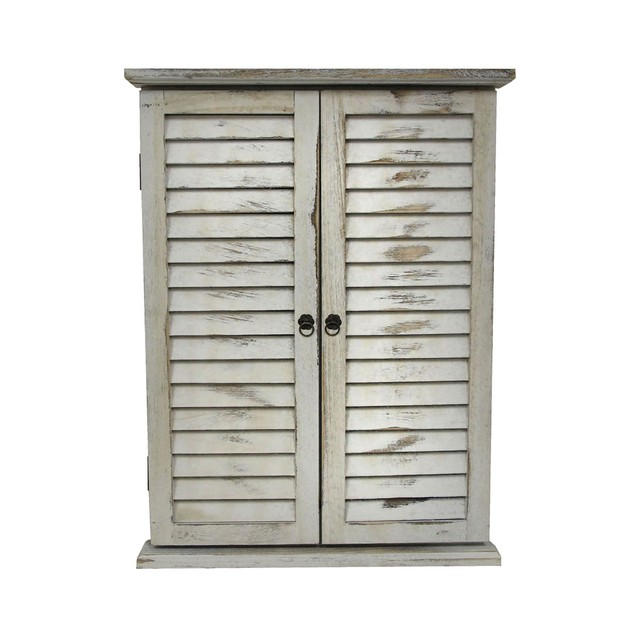 Distressed Finish White Wooden Shutter Wall Mirror Wall Mounted Mirrors