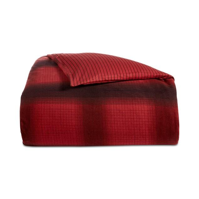 Martha Stewart Collection Reversible Ombré Plaid Flannel Twin Duvet Cover,
