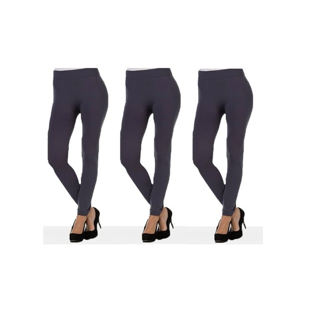 3 Pairs of Grey Women's Leggings - One Size