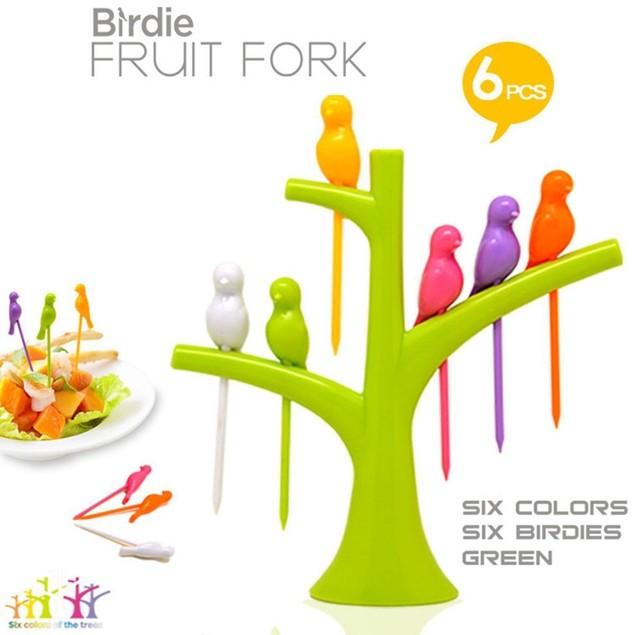 6 Pcs Cute Fruit Fork Set Snack Dessert Forks Picks Party Home Kitchen