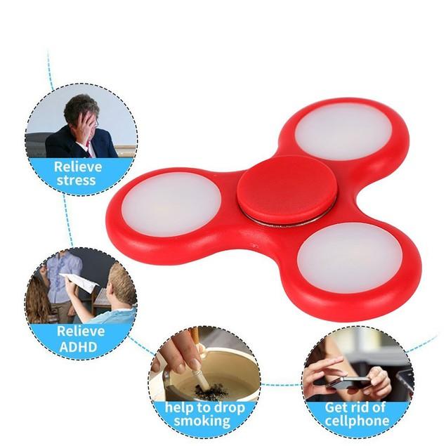 LED Light Fidget Hand Spinner Torqbar Finger Toy EDC Focus Gyro