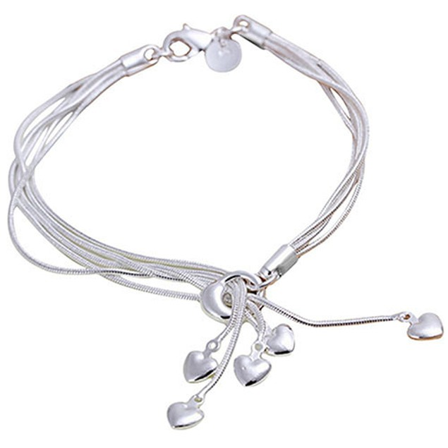 Women's Five Hearts Silver Plated Bracelet