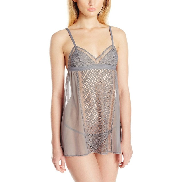 DKNY Women's Sheer Lace Chemise with G-String Panty SIZE MEDIUM
