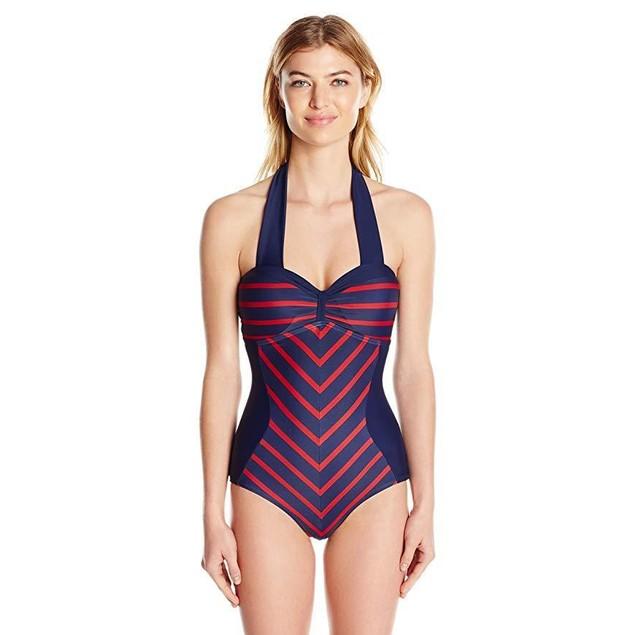 Unique Vintage Women's Mrs. Bogart One Piece Swimsuit, Navy/Red Stripes, XS