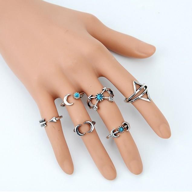 6 Piece Turquoise Arrow Moon Midi Rings