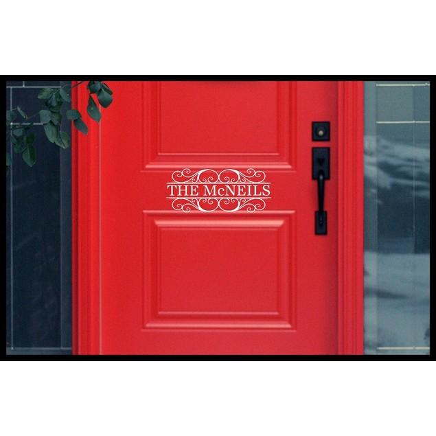 Family Name Vinyl Door Decal Design 6