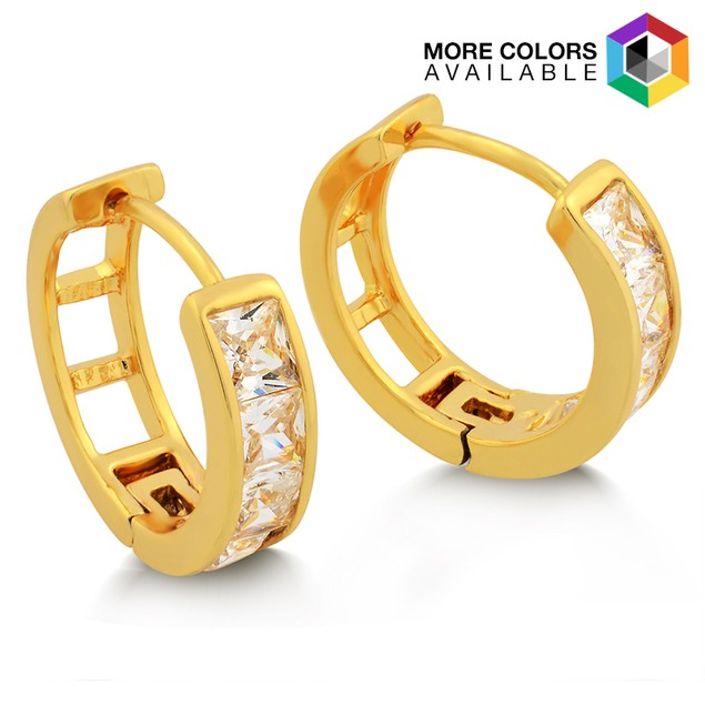Gold Plated Radiant-Cut CZ Huggie Earrings