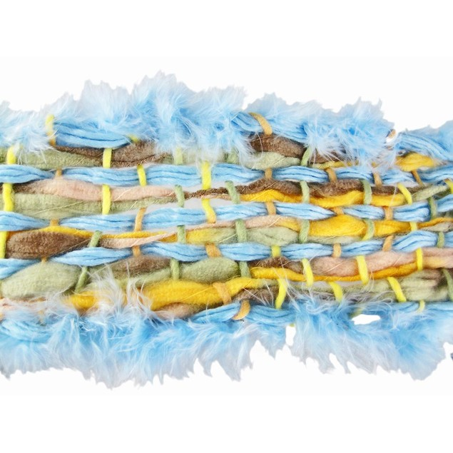 Fluffy Woven Pastel Neck Scarf Light Blue Feather Womens Fashion Scarves
