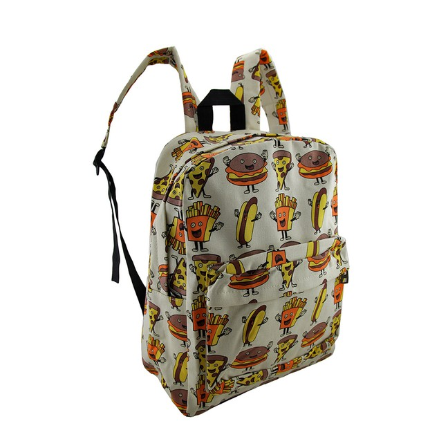Hamburger Pizza Hotdogs And Fries Food Theme Womens Backpack Purses