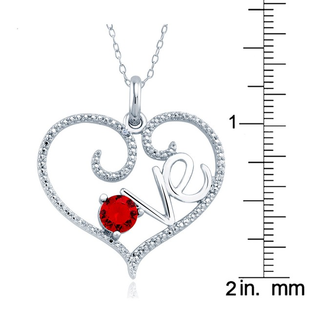1/10cttw Diamond Accent Red Heart Necklace