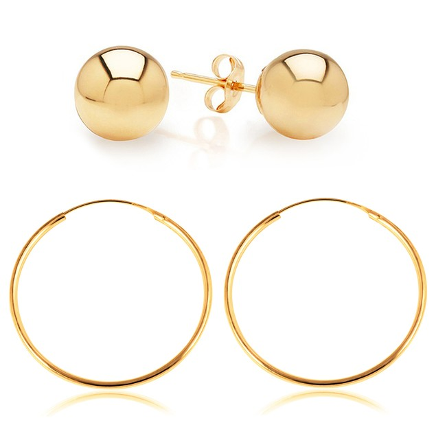 Gold Tone Sterling Silver Ball Stud and Hoop Earring Set
