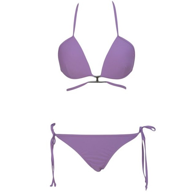 Lavender T-Shaped Bikini Swimsuit with Gold Accent