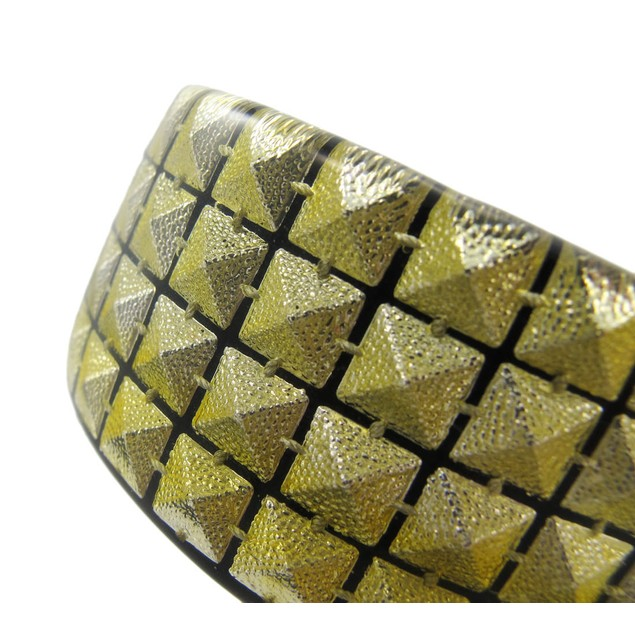 1 1/2 Inch Wide Goldtone Pyramid Studded Lucite Womens Bangle Bracelets