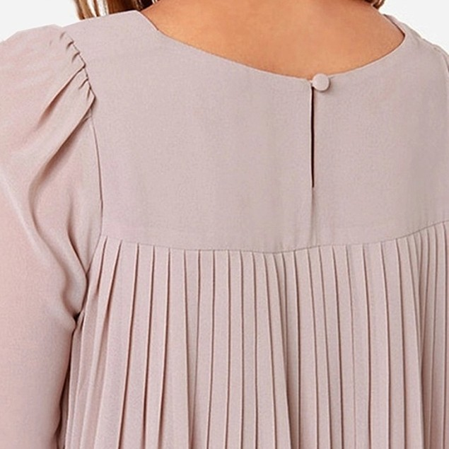 Hi-Lo Ruffle Pleat Chiffon Blouse