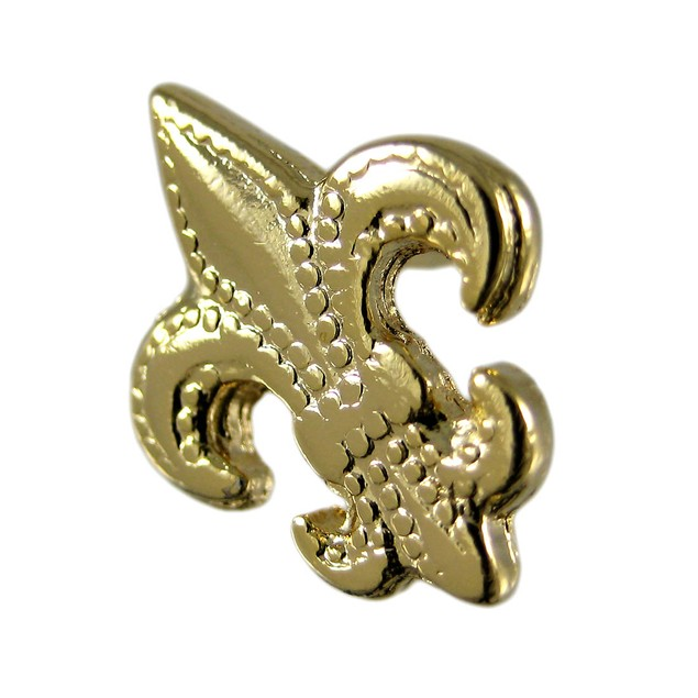 Gold Plated Fleur De Lis Tie Tack Pin French Mens Tie Pins