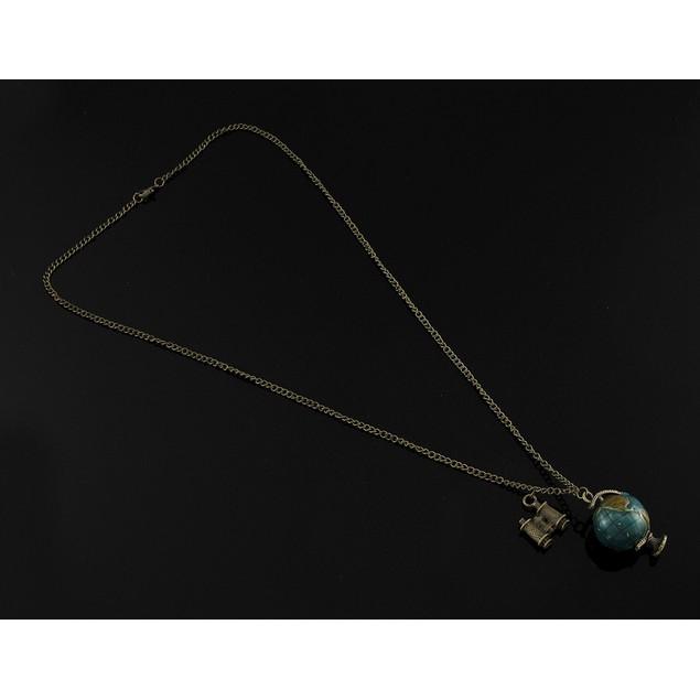 Brass / Enamel Rotating Globe And Binoculars Mens Pendant Necklaces