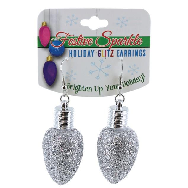 Festive Sparkle Holiday Glitz Light Bulb Earrings - 6 Colors