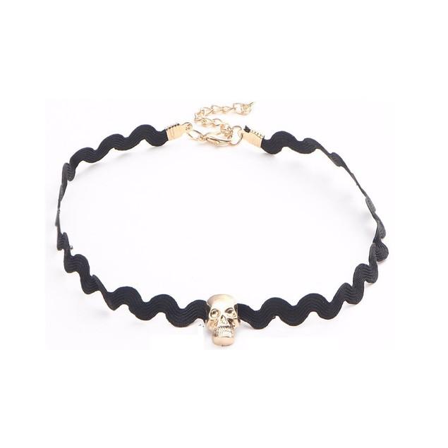 Gold Skull Choker Necklace