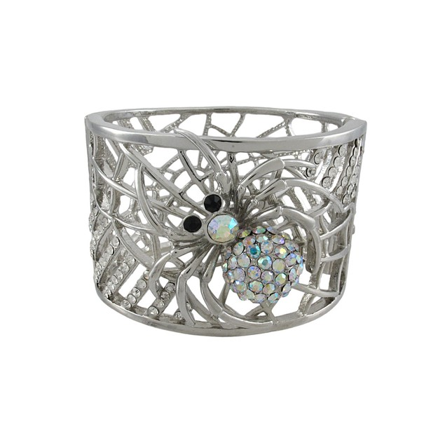 Silvertone Color Changing Rhinestone Spider And Womens Bangle Bracelets