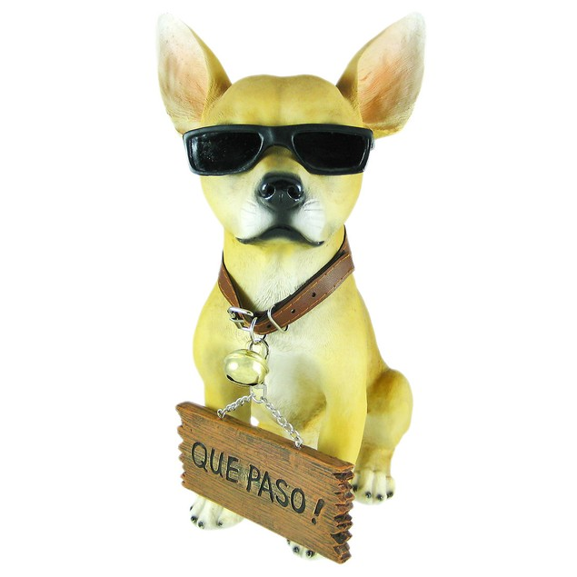 Cool Chillin`` Chihuahua Dog Welcome Statue Statues